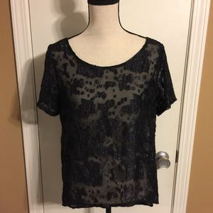 BCBGeneration Sheer Black Top Sz Large